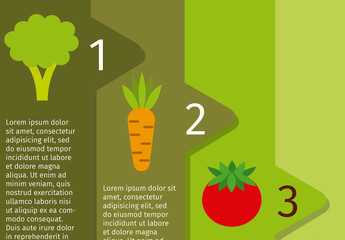 5 Overlapping Tab Nutrition Infographic with Produce Icons