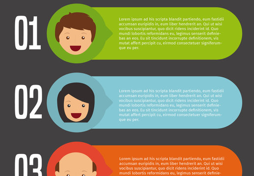 3 Numbered Tab Infographic with Cartoon Talking Head Icons 2