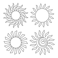 Outline suns for coloring
