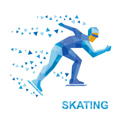 Winter sports - skating. Cartoon skater running. Athlete with blue patterns runs on skates. Flat style vector clip art isolated on white background.