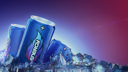 Energy drink pass through Ice Cubes. 3d rendering