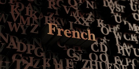 French - Wooden 3D rendered letters/message.  Can be used for an online banner ad or a print postcard.