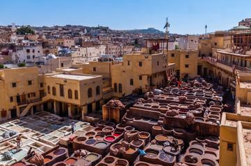 Gerberei in der Medina von Fès; Marokko