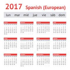 2017 European Spanish Calendar. Week starts on Monday