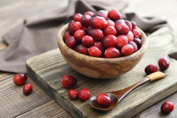 Cranberries in wooden bowl