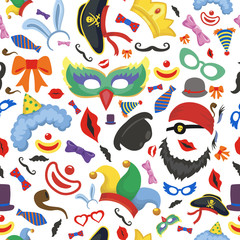 Party photo booth props seamless pattern
