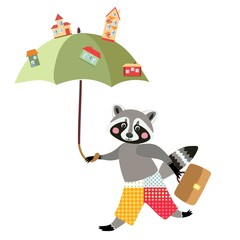 Cute raccoon architect. Beautiful card with cartoon animal character and town on umbrella.