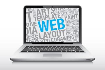 Web concept on laptop screen vector illustration