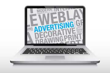 Advertising concept on laptop screen vector illustration
