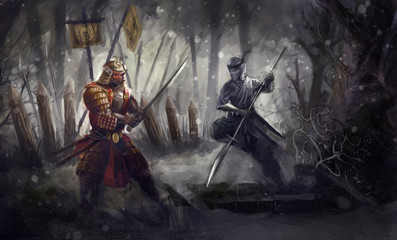 Ninja warrior fighting Samurai warrior