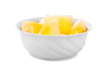 Sliced melon in bowl