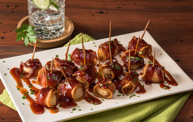 BBQ Bacon Wrapped Water Chestnut Appetizer
