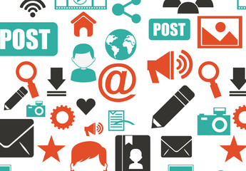 3-Color Flat Social Media and Web Icons Pattern
