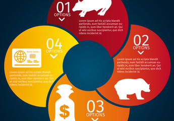 Overlapping Half Circle Stock and Finance Infographic with Bull and Bear Icon Set