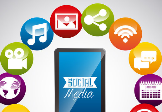 Circle of Circular Social Media and Web Icons Around Smartphone Collection