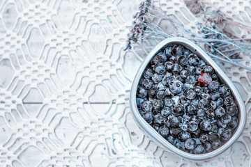 Blueberries On Openwork Tablecloth