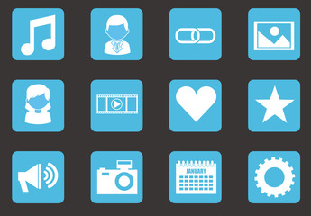 36 Square Blue Social Media and Web Icons