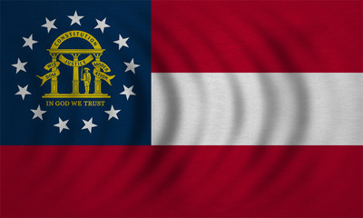 Flag of Georgia state wavy detailed fabric texture