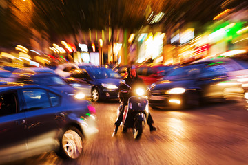 traffic scene at night with creative zoom effect
