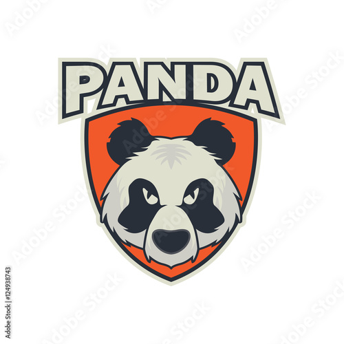 Modern sport logo for team. Panda mascot logo template\