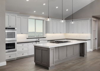 Amazing new contemporary with large white Kitchen with kitchen I