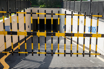 Vehicle security barrier closed - entrance to an underground car