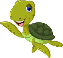 sea turtle cartoon waving