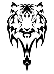 Vector tiger's head as a design element on isolated background