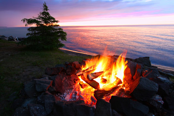 Michigan Beach Bonfire