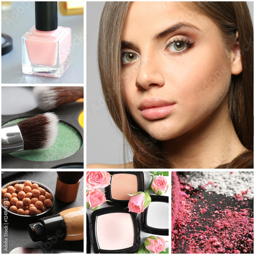 Collage of decorative cosmetic and woman with makeup. Beauty and fashion concept.