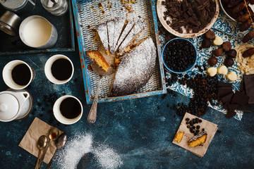 Almond tart, chocolate and coffee cups