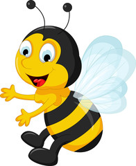 happy Bee cartoon flying