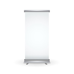 Blank realistic roll-up banner isolated on white