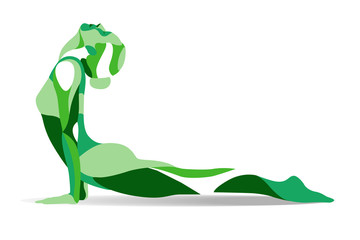 Trendy stylized illustration movement, yoga poses, young woman practicing asanas, line vector silhouette