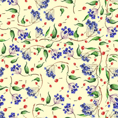 Vintage seamless botanical pattern. Blue and red mountain ash berries watercolor.