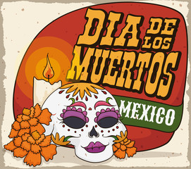 """Catrina Skull with Marigolds and Candle for """"Dia de Muertos"""", Vector Illustration"""