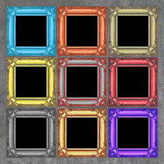 colorful frames on concrete wall background