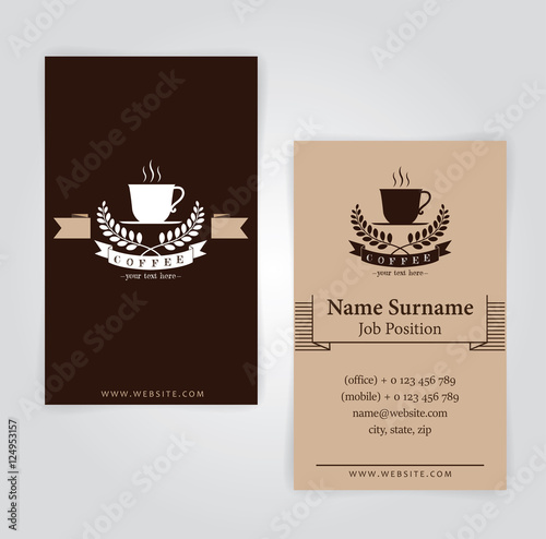 Business card coffee template for coffee shop stock image and business card coffee template for coffee shop wajeb