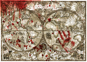 Old atlas map of world with bloody hand print and drops