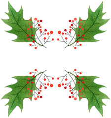 background with green Christmas holly leaves and berries.watercolor hand drawn pattern.