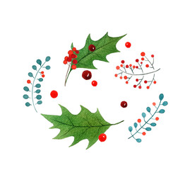 Merry Christmas watercolor hand drawn greeting card. holiday design isolated on white background.