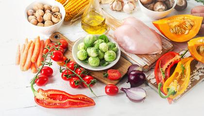 Balanced diet concept. Fruits, vegetables and chicken fillet.