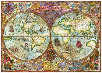 Vintage illustration with world atlas map on old paper