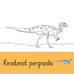 Coloring page for kids with Kirostenot pergrasilis dinosaur and colored preview. Vector illustration