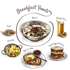 Colorful illustration of breakfast foods.