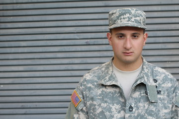 Concerned looking army American soldier