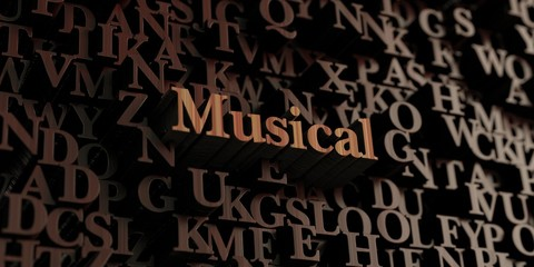 Musical - Wooden 3D rendered letters/message.  Can be used for an online banner ad or a print postcard.