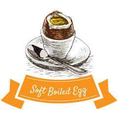 Soft boiled egg colorful illustration.