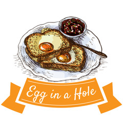 Egg in a hole colorful illustration.