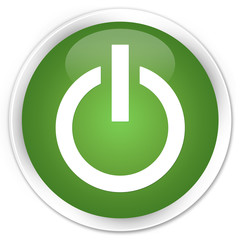 Power icon soft green glossy round button